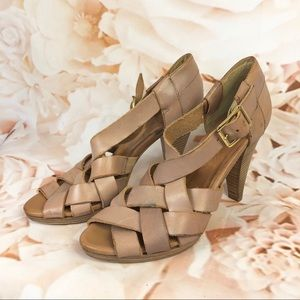 J. Crew pink criss cross strappy heeled sandals 7